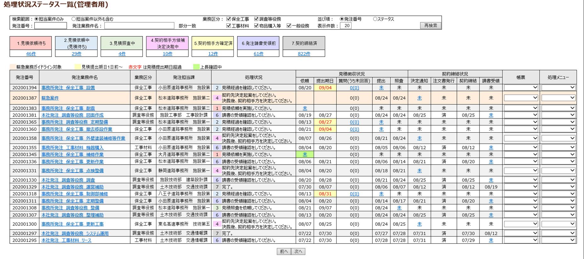 処理状況ステータス画面
